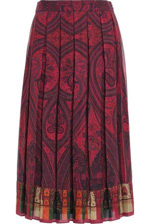 ADAM LIPPES Women Printed Skirts - Woman Pleated Printed Crepe Midi Skirt Brick Size 2
