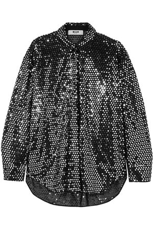 Msgm Woman Sequined Tulle Shirt Size 38