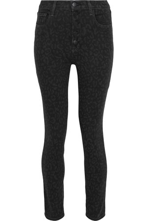 J Brand Women High Waisted - Woman Lillie Cropped Leopard-print High-rise Skinny Jeans Charcoal Size 23