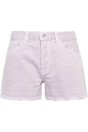 J Brand Women Shorts - Woman Gracie Frayed Denim Shorts Lilac Size 24