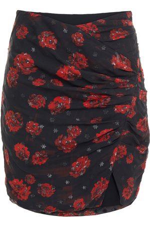 IRO Women Printed Skirts - Woman Bootab Ruched Floral-print Metallic Fil Coupé Georgette Mini Skirt Size 34