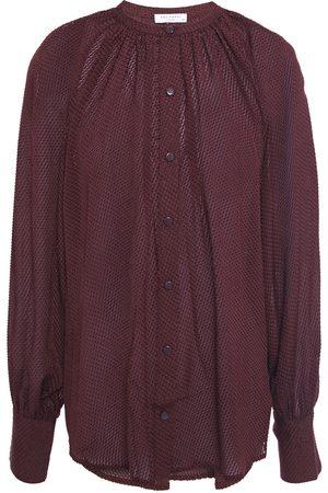 Equipment Woman Corbette Gathered Fil Coupé Silk-blend Chiffon Shirt Burgundy Size L