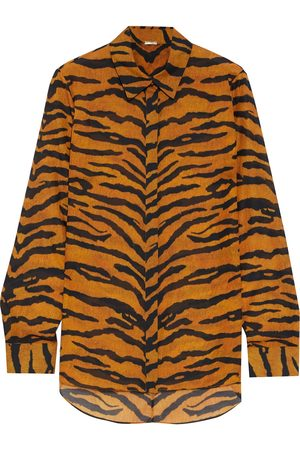 ADAM LIPPES Woman Tiger-print Voile Blouse Animal Print Size 0