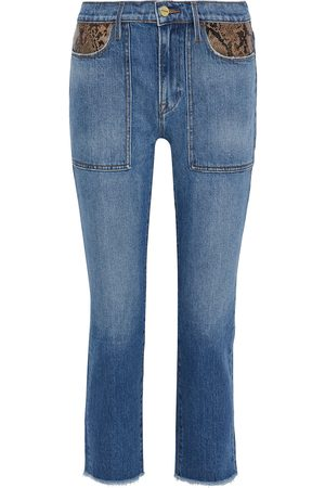 Frame Woman Le High Straight Snake-effect Leather-trimmed Mid-rise Straight-leg Jeans Mid Denim Size 23