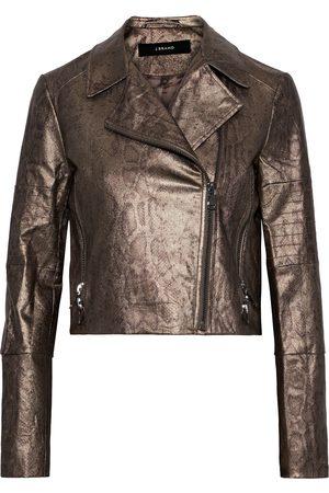 J Brand Woman Aiah Coated Snake-print Cotton-blend Twill Biker Jacket Bronze Size L
