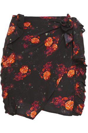 IRO Women Printed Skirts - Woman Kasper Wrap-effect Floral-print Crepe De Chine Mini Skirt Size 34