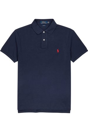 Polo Ralph Lauren Navy slim piqué cotton polo shirt