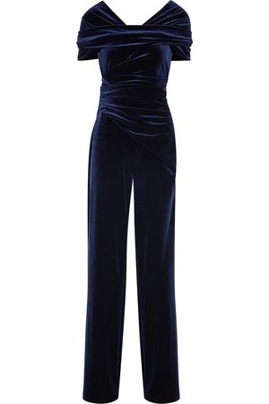 TALBOT RUNHOF Ciara navy off-the-shoulder velvet jumpsuit