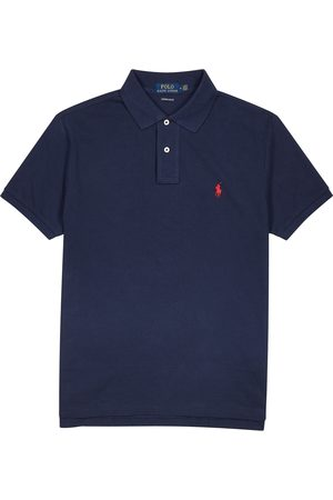 Polo Ralph Lauren Navy custom slim piqué cotton polo shirt