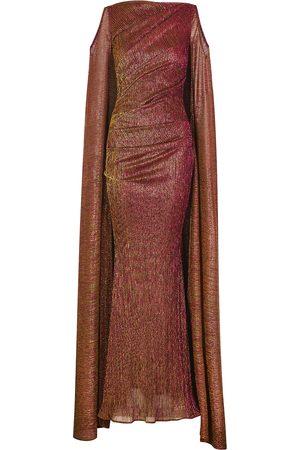 TALBOT RUNHOF Bonoso metallic-weave plissé gown