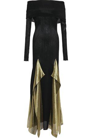 Roland Mouret Women Strapless Dresses - Woman Off-the-shoulder Draped Plissé Silk-blend Gown Size L