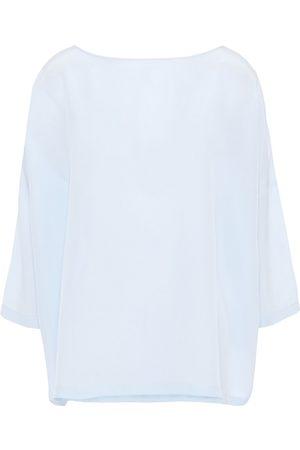 M Missoni Woman Silk Crepe De Chine Blouse Sky Size L
