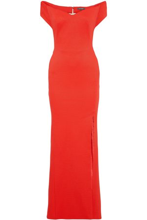 ZAC Zac Posen Woman Off-the-shoulder Textured-cady Gown Coral Size 2