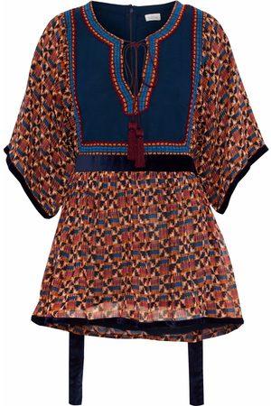 Talitha Woman Velvet-trimmed Printed Silk Crepe De Chine Top Size L