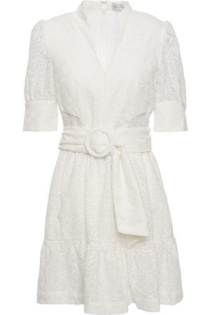 Rebecca Vallance Woman Valentina Belted Broderie Anglaise Cotton Mini Dress Ivory Size 10