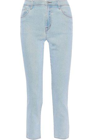 J Brand Woman Ruby Cropped Faded High-rise Slim-leg Jeans Light Denim Size 25