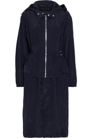 Helmut Lang Woman Layered Crinkled-shell Hooded Parka Midnight Size L