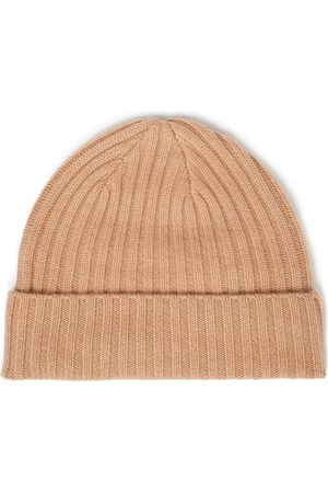N.PEAL Women Beanies - Woman Ribbed Cashmere Beanie Sand Size ONESIZE