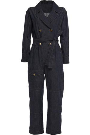 Brunello Cucinelli Woman Belted Denim Jumpsuit Dark Denim Size M