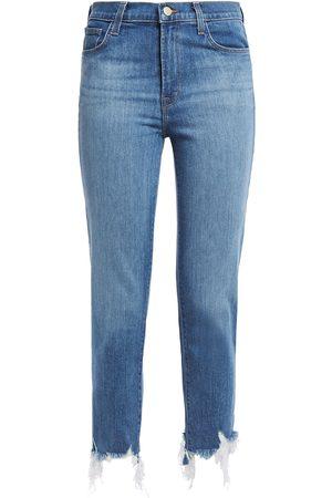 J Brand Woman Ruby Cropped Distressed High-rise Slim-leg Jeans Mid Denim Size 25