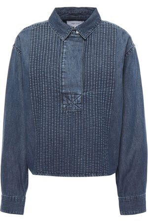 Current/Elliott Women Denim - Woman Pintucked Denim Shirt Mid Denim Size 0