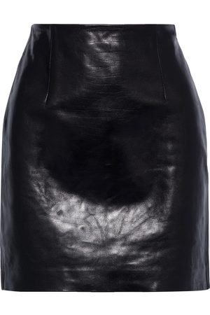 THEORY Woman Textured-leather Mini Skirt Size 0