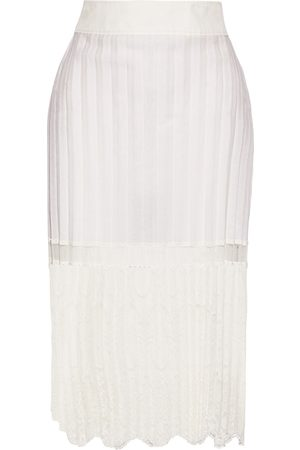 Stella McCartney Woman Elisha Pleated Cotton-blend And Embroidered Tulle Skirt Off- Size 42