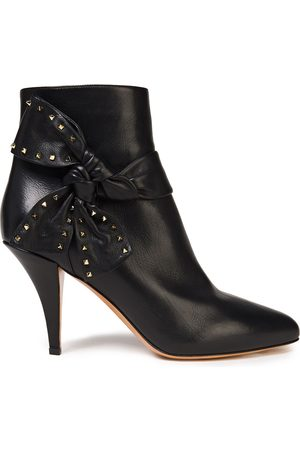 VALENTINO GARAVANI Women Ankle Boots - Woman Studded Bow-embellished Leather Ankle Boots Size 36.5