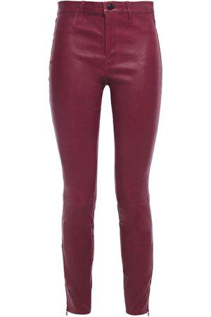 J Brand Women Leather Pants - Woman L8001 Stretch-leather Skinny Pants Grape Size 23