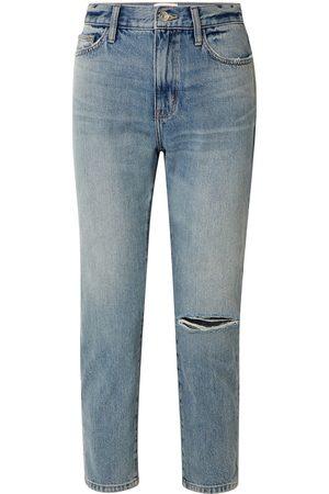 Current/Elliott Woman The Vintage Cropped Distressed High-rise Slim-leg Jeans Light Denim Size 26