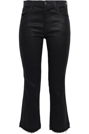J Brand Woman Selena Cropped Coated Mid-rise Bootcut Jeans Size 24