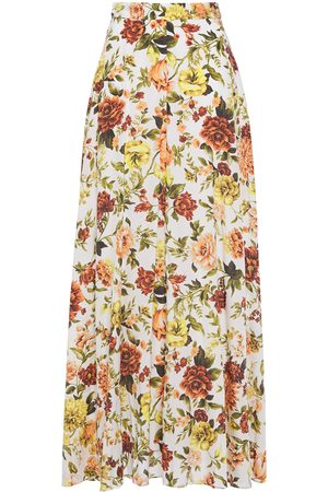 ZIMMERMANN Woman Zippy Basque Floral-print Silk-blend Maxi Skirt Ivory Size 0