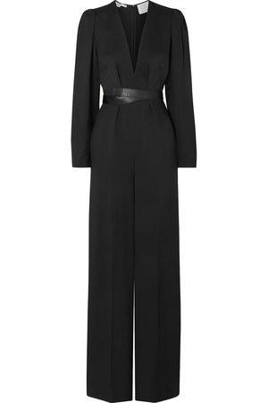 Stella McCartney Woman Vegetarian Leather-trimmed Twill Wide-leg Jumpsuit Size 46