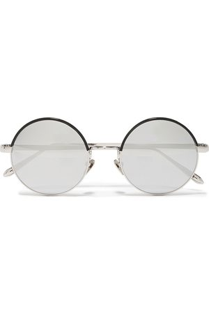 Linda Farrow Woman Round-frame -tone And Acetate Mirrored Sunglasses Size