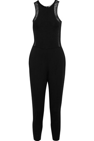 Stella McCartney Woman Cropped Mesh-trimmed Ponte Jumpsuit Size 40