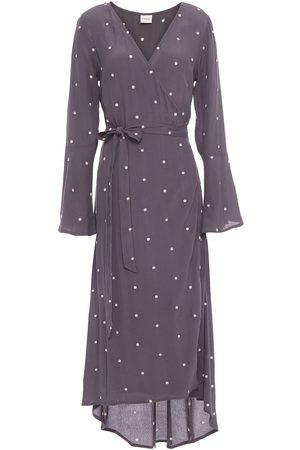 Charli Woman Embroidered Crepe Midi Wrap Dress Dark Size 10