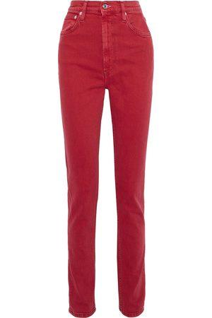 Helmut Lang Woman Femme Hi Spikes High-rise Slim-leg Jeans Crimson Size 26