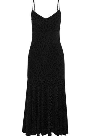 Caroline Constas Woman Kai Metallic Leopard-print Fil Coupé Stretch-jersey Midi Dress Size L