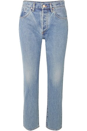 Goldsign Women High Waisted - Woman The Benefit Cropped High-rise Straight-leg Jeans Light Denim Size 28