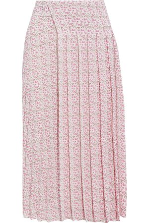 Victoria Beckham Woman Pleated Printed Textured-crepe Midi Skirt Baby Size 8