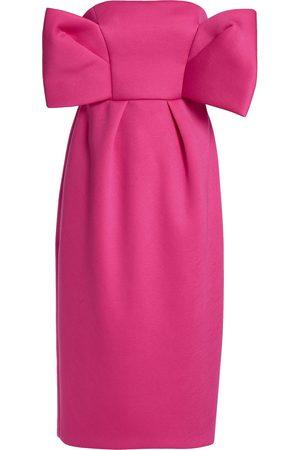 DELPOZO Woman Strapless Bow-embellished Neoprene Dress Fuchsia Size 36