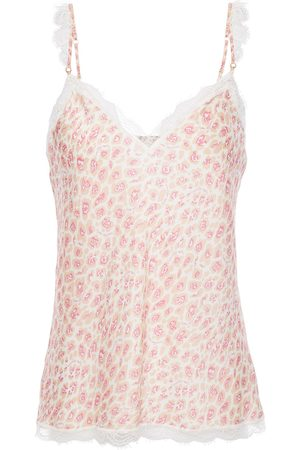 Stella McCartney Women Camisoles - Woman Tana Snooping Lace-trimmed Leopard-print Stretch-silk Satin Camisole Pastel Size L