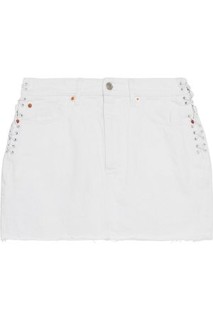 IRO Woman Fores Lace-up Frayed Denim Mini Skirt Size 34