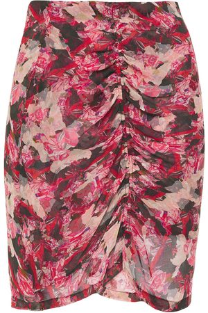 IRO Women Printed Skirts - Woman Thorn Ruched Floral-print Crepon Mini Skirt Size 36