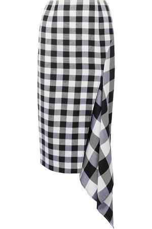 MONSE Woman Asymmetric Gingham Wool And Cotton-blend Midi Skirt Size 6