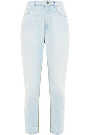 Frame Woman Le Beau Cargo Cropped Canvas-paneled Boyfriend Jeans Light Denim Size 24