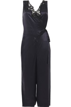 Stella McCartney Woman Cropped Wrap-effect Lace-trimmed Silk-satin Jumpsuit Navy Size 36