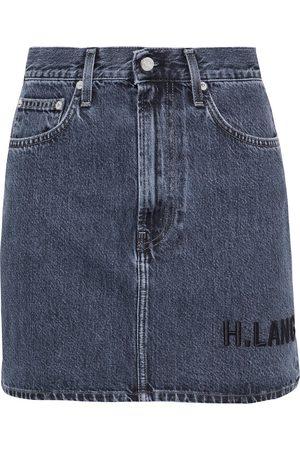 Helmut Lang Woman Femme Hi Embroidered Faded Denim Mini Skirt Mid Denim Size 25