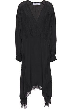IRO Woman Talent Asymmetric Lace-trimmed Crepe De Chine Dress Size 34