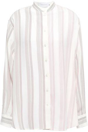 Victoria Beckham Woman Striped Silk Shirt Ivory Size 10